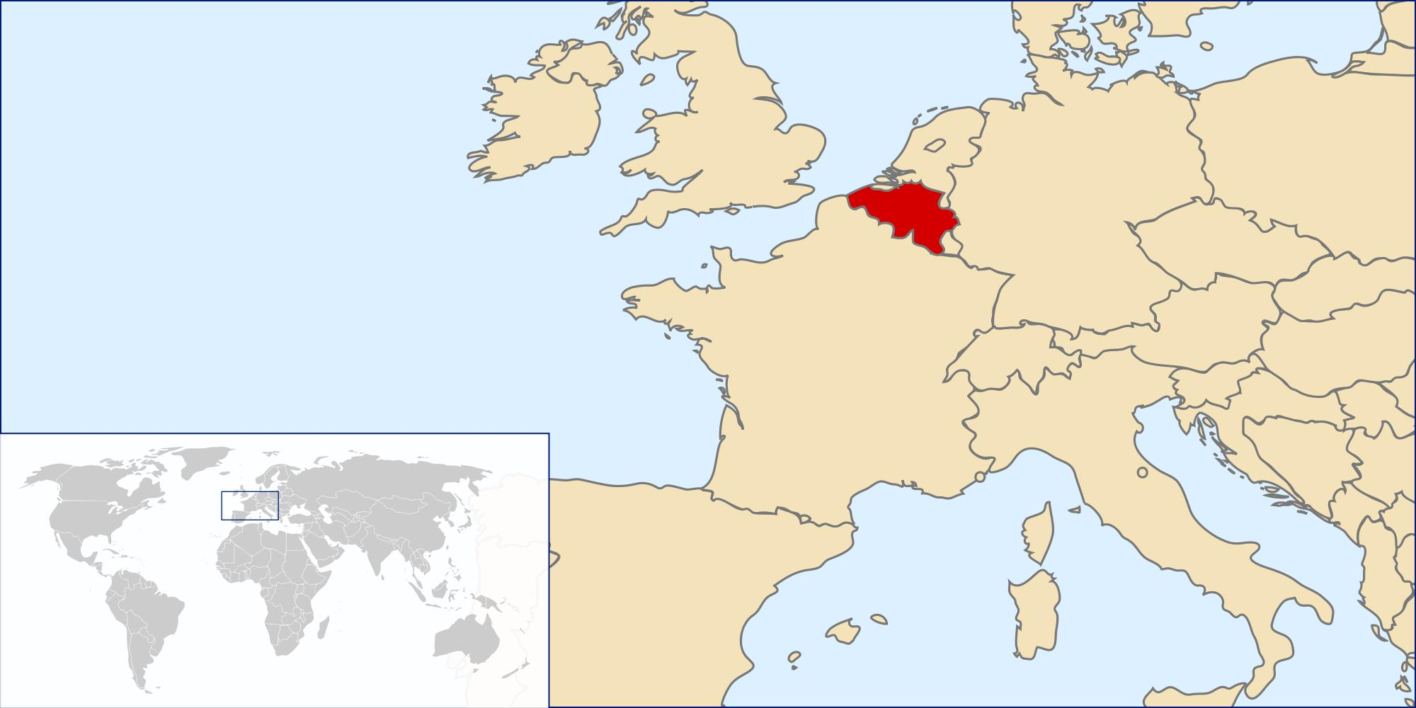 Belgium on world map - Belgium map in world map (Western ...