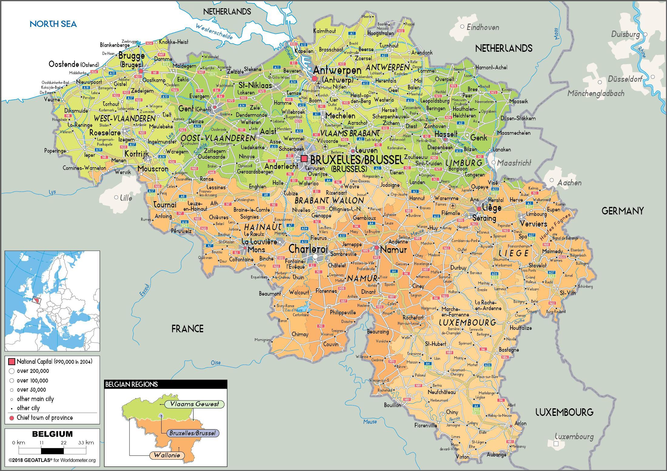 Belgium political map - Map of Belgium political (Western Europe ...