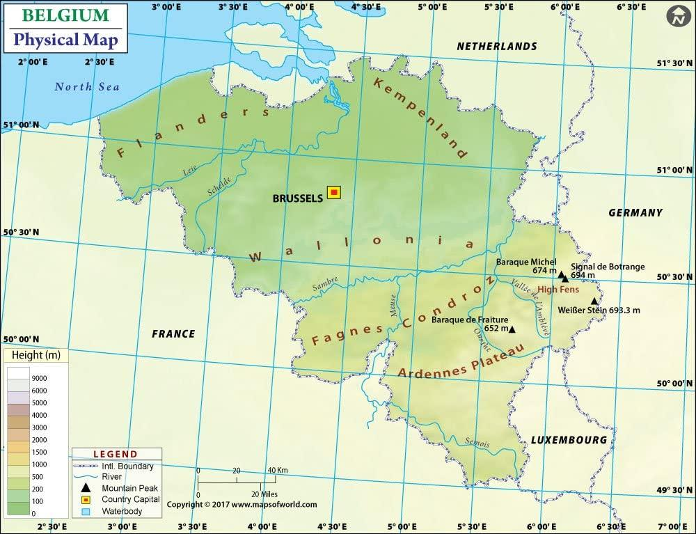 Physical map of Belgium   Belgium topographic map (Western Europe