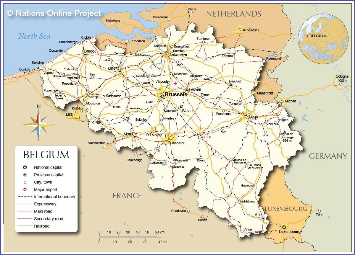 map of Belgium and surrounding areas