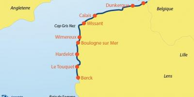 Map of Belgium beaches