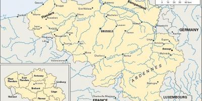 Belgium location on world map - World map showing Belgium (Western ...